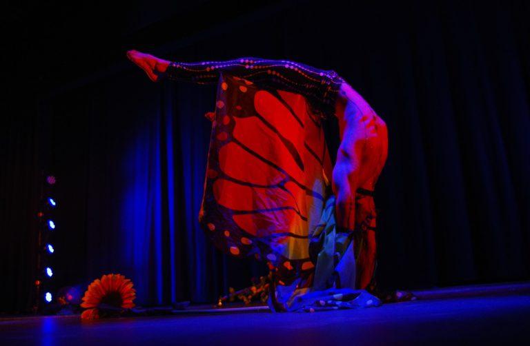 Artistik in Karlsruhe - Jan Dages zeigt Handstand in der Rolle eines Schmetterlings - traumhafte Momente für Ihre Hochzeit